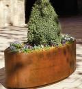 Ovale Cortenstalen Plantenbak 110 cm (bodem+wielen)