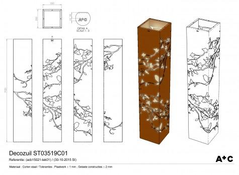 Cortenstalen Decozuil 'Boomtak' (H192cm)