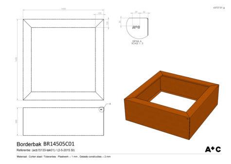 Cortenstalen Borderbak 145x145x50 cm - cortenstalen producten
