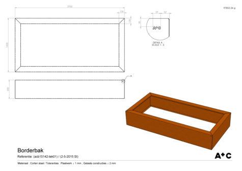 Cortenstalen Borderbak 145x295x50 cm - cortenstalen producten