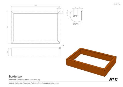 Cortenstalen Borderbak 195x295x50 cm - cortenstalen producten