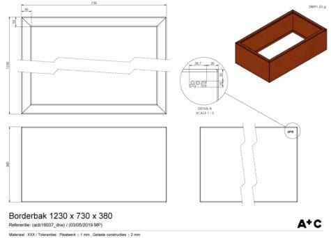 Borderbak / Plantenbak in cortenstaal - 123 x 73 x 38 cm - cortenstalen producten