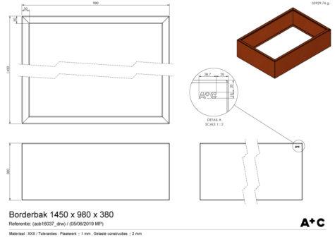 Borderbak / Plantenbak in cortenstaal - 145 x 73 x 38 cm - cortenstalen producten