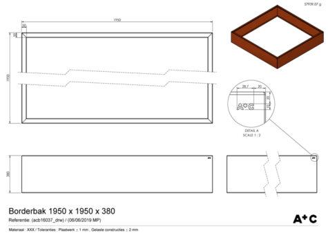 Borderbak / Plantenbak in cortenstaal - 195 x 195 x 38 cm - cortenstalen producten