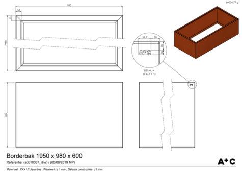 Borderbak / Plantenbak in cortenstaal - 195 x 98 x 60 cm - cortenstalen producten