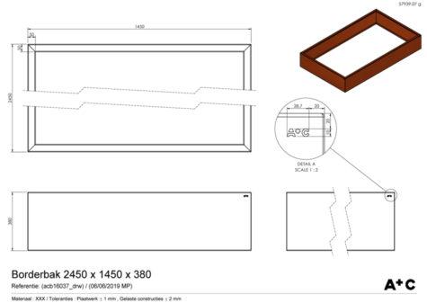 Borderbak in cortenstaal - 245 x 145 x 38 cm - cortenstalen producten