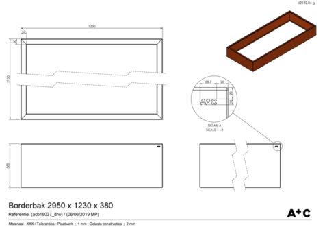 Borderbak in cortenstaal - 295 x 123 x 38 cm - cortenstalen producten