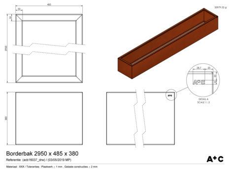 Borderbak in cortenstaal - 295 x 48,5 x 38 cm - cortenstalen producten