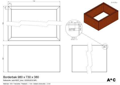 Borderbak / Plantenbak in cortenstaal - 98 x 73 x 38 cm - cortenstalen producten