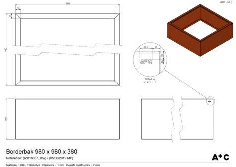 Borderbak / Plantenbak in cortenstaal - 98 x 98 x 38 cm - cortenstalen producten
