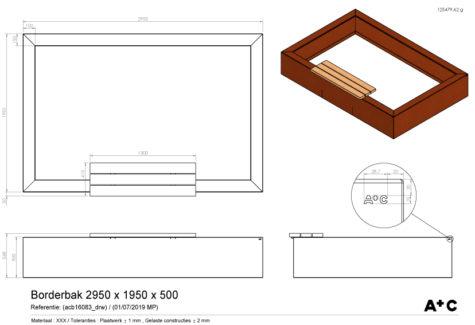 Borderbak in cortenstaal +bank 295 x 195 x 50 cm - cortenstalen producten